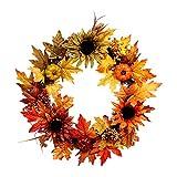 SDFX Rosetón de Girasol y Arce Tricolor, Anillo de decoración Artificial, Calabaza decorando bastón Hecho a Mano, Luces Decorativas con