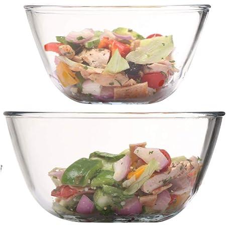Femora Borosilicate Glass Microwave Safe All-Purpose Mixing Bowl,400 ML, 1050 ML, Set of 2