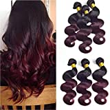 Ombre T1b/99j Black To Burgundy Brazilian Virgin Human Hair Body Wave 3 Bundles 14 16 18 Inch Two Tone Ombre Human Hair Weaves Double Weft 100g/Pcs