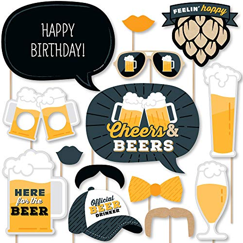 Big Dot of Happiness Cheers and Beers Happy Birthday – Birthday Party Photo Booth Props Kit – 20 Count