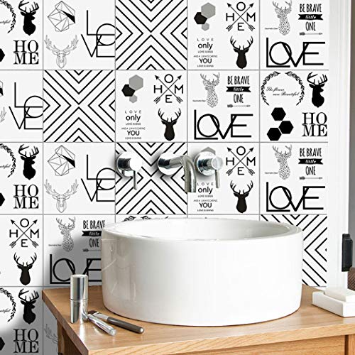 Cweu-home 10 tegelstickers voor tegels, Nordic Element, zelfklevend, voor woonkamer, slaapkamer, keuken, wand, stickers