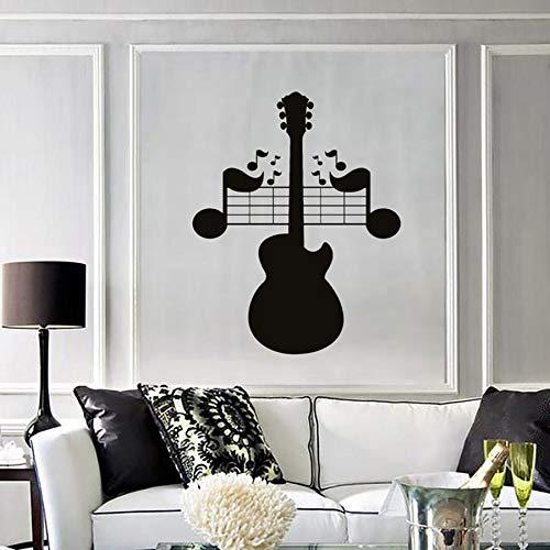 wopiaol Tatuajes de Pared Guitarra Notas Música Rock Pop Canciones Mural Dormitorio Sala de Estar Sala de música Concierto Decoración Interior Vinilo Etiqueta de la Pared