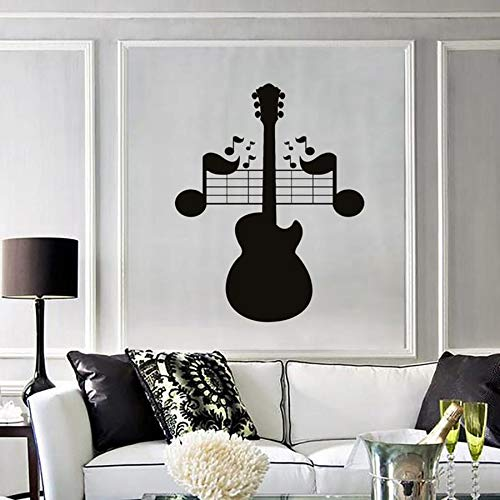 wopiaol Muursticker Gitaar Notities Muziek Rock Pop Liedjes Mural Slaapkamer Woonkamer Muziek Kamer Concert Interieur Decor Vinyl Muursticker