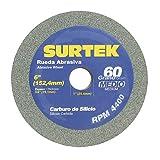 Surtek 128030 Rueda Abrasiva de Carburo de Silicio 6 x 3/4' Grano 60