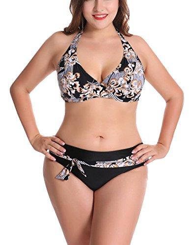 FEOYA - Bikini para Mujer 2018 con Relleno Estampado Retro Traje de Baño con Relleno Sexy Bañador Push Up Swimwear Beach for Woman - Negro - ES 54