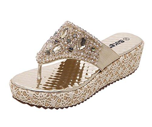 Minetom Damen Mode Sandalen Faux Strass Perlen Flip Flops Sommer Pantoffeln Mit Keilabsatz Gold 36