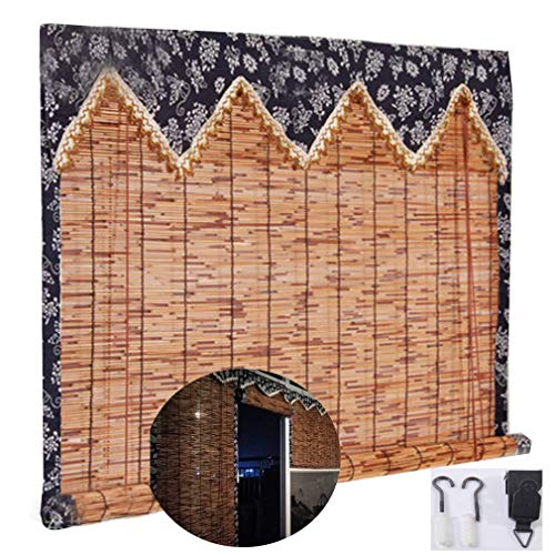 YANJ Natural Reed Curtain,Hemming Vintage Decoration Bamboo Roller Blind - Curtains,Light Filtering Roll Up Blinds with Valance,Decorative Curtains,for Outdoor/Indoor,Custom (Size : 80x220cm/32x87in)