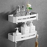 Jaysamay 2Piezas Pegamento Sin Necesidad de Taladrar Estante Ducha, Estantes de Baño de Aluminio Espacial Perforado Entramado de Baño Muebles de Baño
