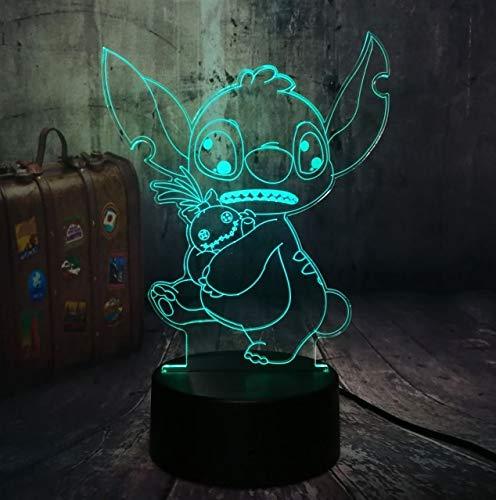 Z Lamp Nuevo 4 Diseño Lindo Puntada Alien Perro Dibujos Animados 3d Led Noche De Luz 7 Color Bebé Sueño Escritorio Lámpara Hogar Decor Holiday Kid Navidad Regalo Controlador 7 color Puntada Linda