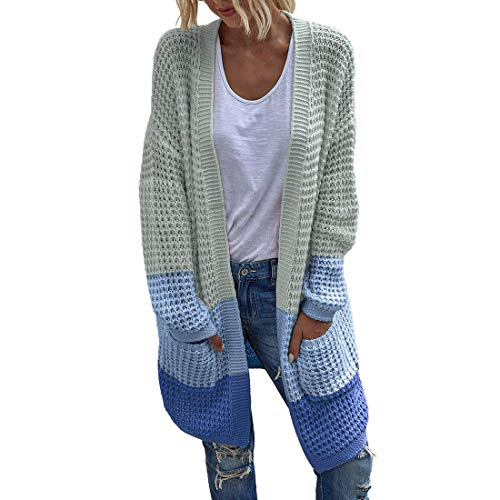 XWLY Women Cardigan Long Casual Autumn Fashion Large Size Loose Solid Color Long Sleeve New Elegant Chic Simple Classic All-Match Winter Women Jacket Women Tops Blue_ XL