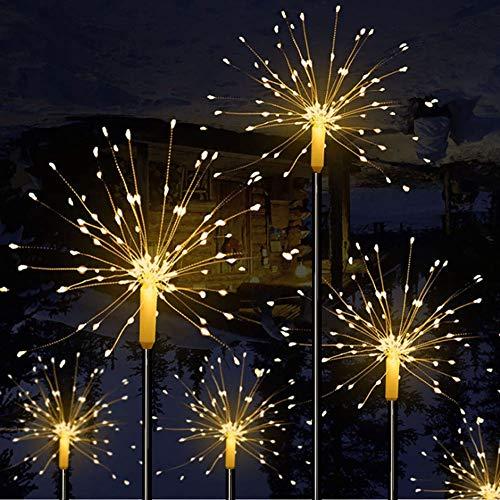 Mixtooltoys Solarleuchten für den Außenbereich solarbetrieben 90 LEDs, 30 Kupferdrahte Landschaftsbeleuchtung, Feuerwerk Sterne für Gehweg, Garten Weihnachten Party-Dekoration (Warmweiß 2er-Pack)