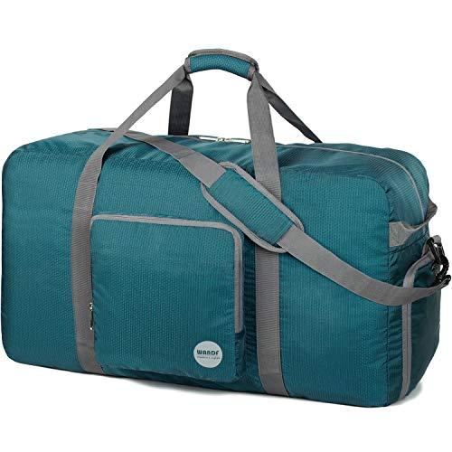 Faltbare Reisetasche 60-100L Superleichte Reisetasche für Gepäck Sport Fitness Wasserdichtes Nylon von WANDF (Dunkel-Grün, 100L)