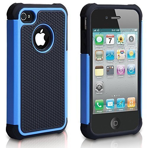 CHTech iPhone 4 Case, iPhone 4S Case,Fashion Shockproof Durable Hybrid Dual Layer Armor Defender Protective Case Cover for Apple iPhone 4S/4 - Blue