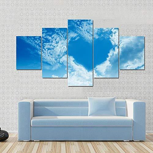 GONGXIANG Lienzo Art Deco De Pintura Moderna para Sala De Estar O Dormitorio Nubes del Cielo Formando Una Forma De Corazón 5 Piezas De 80X150Cm XXL