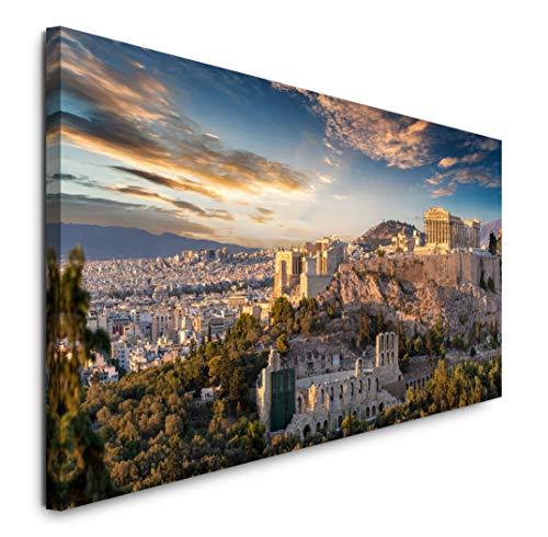 Paul Sinus Art GmbH Athen 120x 50cm Panorama Leinwand Bild XXL Format Wandbilder Wohnzimmer Wohnung Deko Kunstdrucke
