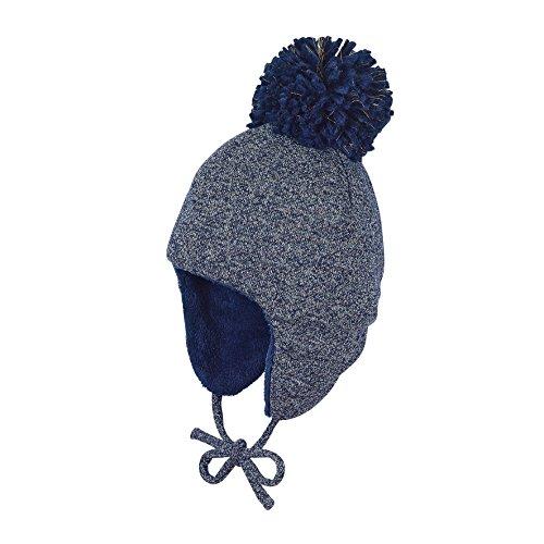 Sterntaler - Jungen Mütze Inka-Mütze gefüttert meliert mit Bommel und Ohrenschutz, zum binden, Marine - 4411826, Größe 43