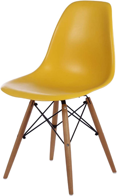 LRW Adult Minimalist Chair Creative Dining Chair Modern Plastic BackChair, Dining Room Desk Chair, Yellow