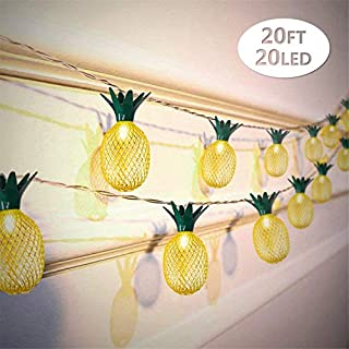 2 Packs Pineapple String Lights 20ft 20 LED, Battery Operated Fairy String Lights for Party Birthday Wedding Home Bedroom ...