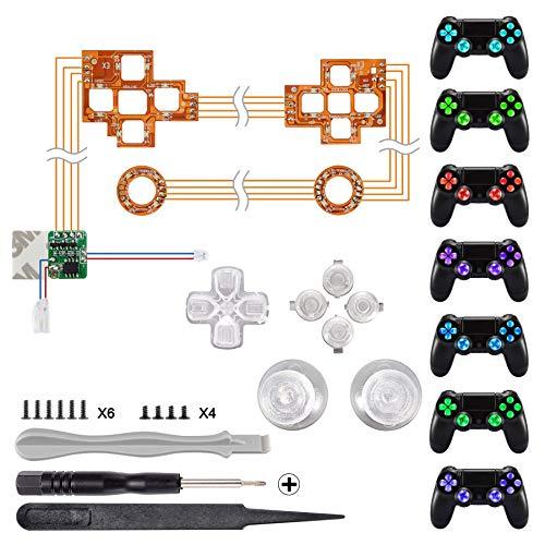 eXtremeRate PS4 Tasten Knöpfe Thumbsticks D-Pad Steuerkreuz LED Kit(DTF) für Playstation 4 Dualshock 4 Controller Bundle Button Munition Thumbsticks Bullets Zubehör (Leuchttaste)