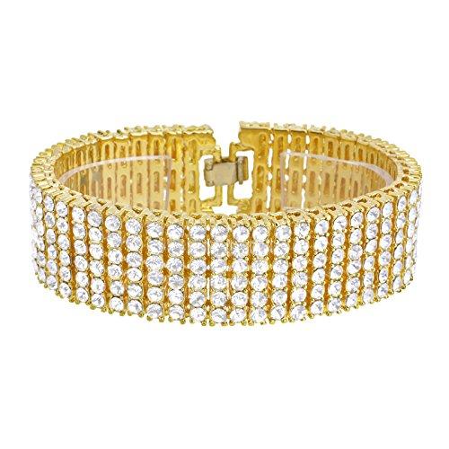 Hombres de las mujeres de moda Bling CZ piedras dorado/plateado Toned pulsera 6filas 8'NB 06