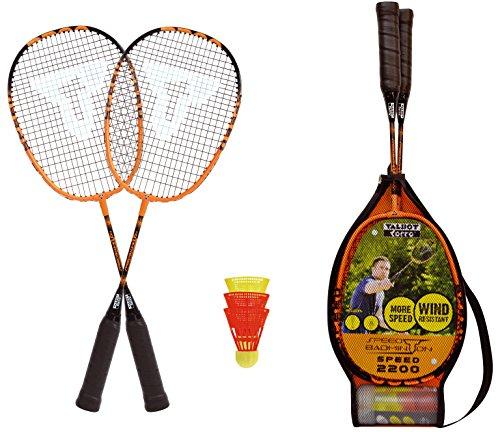 Talbot Torro Herren SPEED 2200 Speedbadminton Set, 2 leichte Rackets, 2 windstabile Bälle, im 3/4 Bag, schön handlich auch für Kids, schwarz-orange