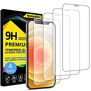 4youquality [4-Pack] Screen Protector for iPhone 12 and iPhone 12 Pro (6.1-Inch), Tempered Glass Film, [LifetimeWarranty][Anti-Scratch][Anti-Shatter]