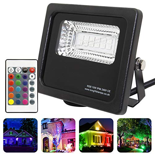 Long Life Lamp Company Led-schijnwerper, IP66, waterdicht, 10 W, RGB, kleurverandering, afstandsbediening, 240 V, geheugenfunctie, 10 A, zwart