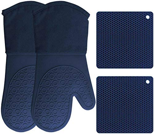 HOMWE Silicone Oven Mitts and Pot Holders 4 Piece Set Heavy Duty Cooking Gloves Kitchen Counter product image