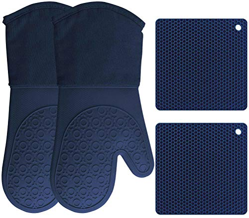 HOMWE Silicone Oven Mitts and Pot Holders, 4-Piece Set, Heavy Duty Cooking Gloves, Kitchen Counter Safe Trivet Mats, Advanced Heat Resistance, Non-Slip Textured Grip (Navy Blue)