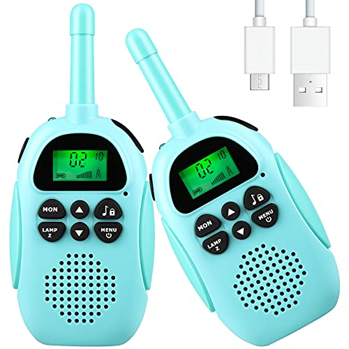 Brohaibo Kids Walkie Talkies Rechargeable, 2 Pack 3 Miles Long Range Walkie Talkies for Kids 2 Way Radio 22 Channels with Flashlight Best Gifts Toys for 3-12 Years Old Girls and Boys
