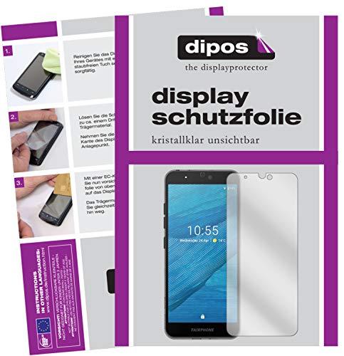 dipos I Schutzfolie klar kompatibel mit Fairphone 3 Folie Bildschirmschutzfolie