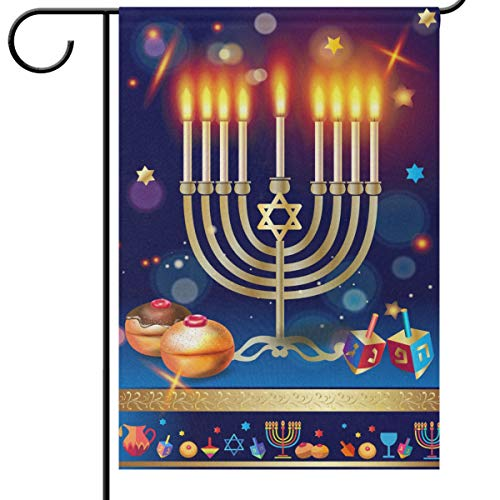 Happy Hanukkah Garden Flags 12 x 18 Double Sided Chanukah Menorah Candles Donuts Star Yard House Flag Winter Holiday Traditional Outdoor Banner Home Decorations