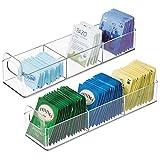mDesign Organizador de cocina – Práctica caja de almacenaje para cocina y despensa – Cesta con asa y 3 compartimentos para guardar té, café, especias y otros alimentos – Juego de 2 – transparente