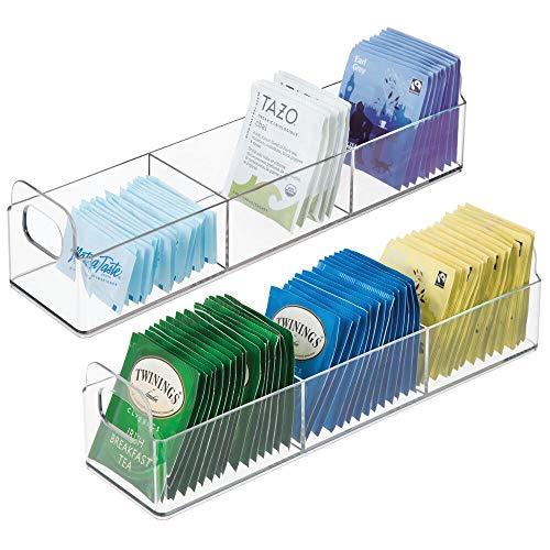 mDesign Küchen Organizer – praktischer Korb mit Griff für Küche und Speisekammer – Aufbewahrungsbox mit drei Fächern – für Tee, Kaffee, Gewürze und andere Lebensmittel – 2er-Set – durchsichtig