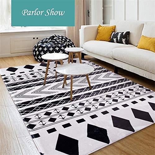 ZHAOJDT decoratief tapijt, Scandinavisch design, sober, woonkamer, salontafel, rechthoekig, groot tapijt, slaapkamerdeken, blauw en wit, 180 x 180 cm