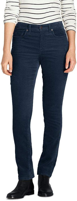 Lands' End Women's Petite Mid Rise Straight Leg Corduroy Pants