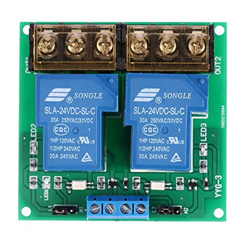 KKmoon 2 Kanal DC 24V 30A Relay Board Modul Optokoppler Isoliert High und Low Trigger Relais Modul