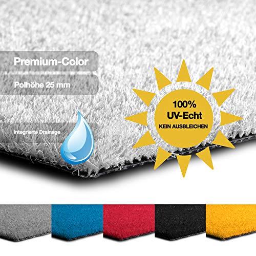 casa pura Kunstrasen Premium Color • Weicher Flor 25 mm • UV-beständig > 6000 h & wasserdurchlässig • Rasenteppich Meterware • Teppichrasen für Balkon, Terrasse, Deko (weiß, 100x150 cm)
