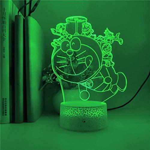 Lámpara de ilusión 3D Luz de noche Led Control inteligente Dibujos animados Doraemon Bambú Libélula Control táctil 7 colores Amigo Regalo de cumpleaños