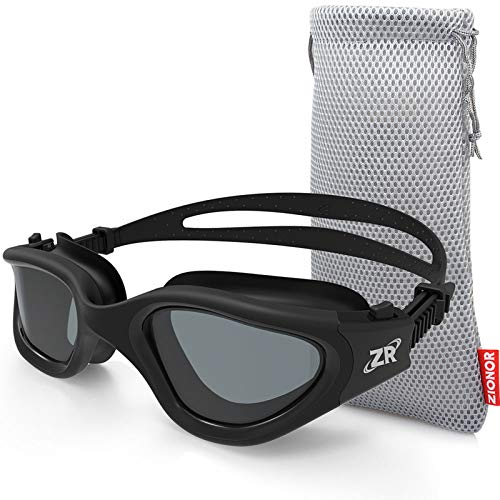 Swim Goggles, ZIONOR G1 Polarized Swimming Goggles UV Protection Leakproof Anti-fog Adjustable Strap for Adult Men Women (Polarized Smoke Lens)