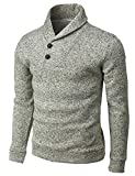 H2H Mens Casual Slim Fit Pullover Sweatshirts Knitted T-Shirts Thermal Napping Inside Ivory US 3XL/Asia 4XL (CMOSWL060)