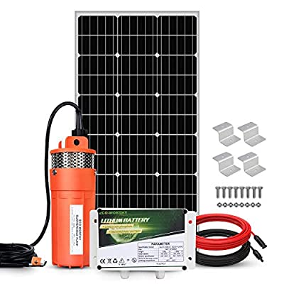 ECO-WORTHY 100W Deep Well Submersible Pump Kit with 6Ah LiFePO4 Lithium Battery, Large Flow Solar Water Pump + 100W Solar Panel Kit + 12V Battery for Deep Well, Irrigation, Human Animal Using Water