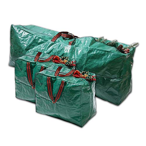 3 Premium Christmas Decoration Storage Bag With Handles | Waterproof Material Protects from Dust, Moisture & Insect |Fits Up Tall Artificial Christmas Trees with Durable Dual Zipper | Set of 3
