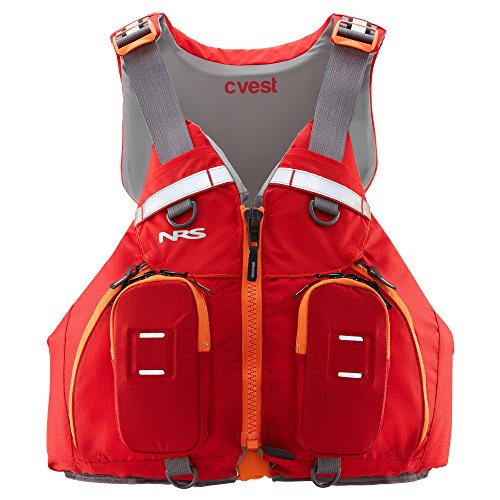 NRS cVest Type III PFD Adjustable Adult Sea Kayak Life Jacket Vest with Mesh Back, Red, XS/S/M