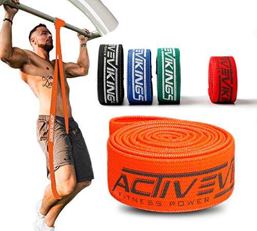 ActiveVikings® Bandes de fitness Pull-Up en tissu - Parfait pour le renforcement musculaire et le Crossfit Freeletics Calisthenics - Bande de fitness - Bandes de traction (l - Orange (Light))