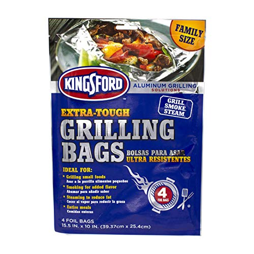 """Kingsford Grilling Extra Tough Aluminum Grill Bags, For Locking in Flavors & Easy Grill Clean Up, Recyclable & Disposable, 15.5"""" x 10"""", Pack of 4, Silver"""