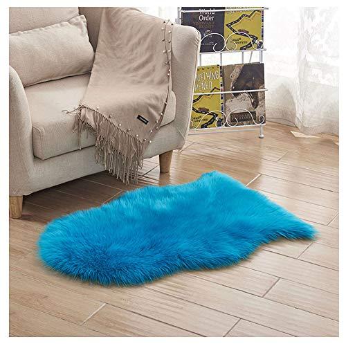 Tapis Laine en Fausse Fourrure - Tapis en Peau de Mouton synthétique antidérapant pour Salon Canapé Décoratif Coussin de Chaise Canapé Natte Bleu foncé Style A 60 * 90cm