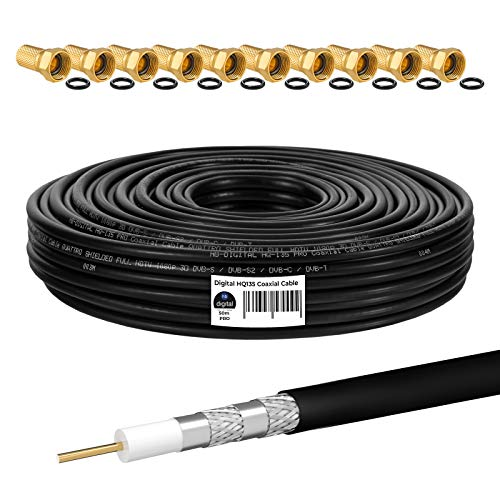 HB-DIGITAL 50m Cable Coaxial HQ-135 Cable de Antena 135dB Cable SAT 8K 4K UHD 4 Veces Apantallado Para Sistemas DVB-S / S2 DVB-C / C2 DVB-T / T2 DAB+ Radio BK + 10 F-Plug GRATIS