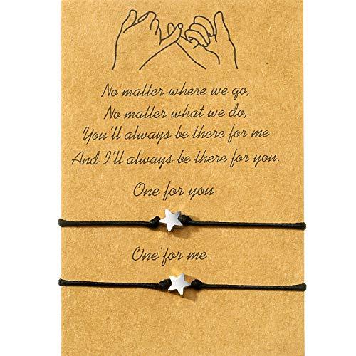 WILLBOND Promise Friendship Bracelet for Friend Couple Family Girlfriend Boyfriend Women (Estrella)