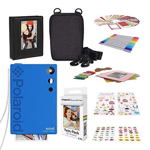 Polaroid Mint Instant Print Digital Camera (Blue) with 2x3ʺ Premium Photo Paper 20-Pack, Soft Camera case, Zink Paper Unique Colorful Stickers & Photo Album Accessories